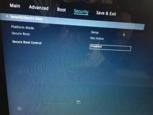 Security boot control